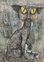 RONARONG THANOMTUP (b. 1940 THAILAND) CAT & FISH ACRYLIC ON CLOTH PAINTING