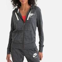 Nike Zip Up Hoodie Grey Logo Vintage Womens Size XS  BNWT RRP £49 Cotton Mix