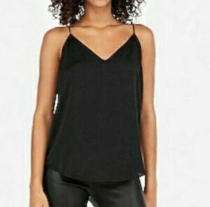 Express Black V Neck Front And Back Adjustable Strap Rounded hem Cami Size XXS