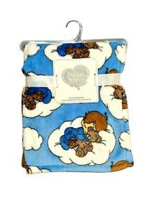 PRECIOUS MOMENTS Blue Plush Baby Boy Blanket Lovey SOFT Clouds Sleeping Bear NWT