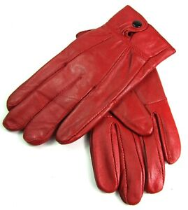LADIES NEW RED SUPER SOFT GENUINE LEATHER FULLY LINED EVERYDAY WINTER GLOVES