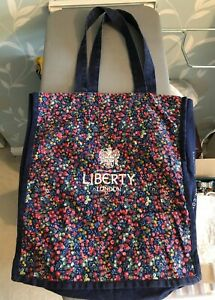 LIBERTY of LONDON GENUINE fabric tote shopping bag - Red berries on Blue canvas