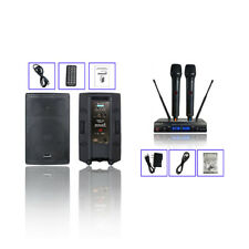 """15"""" 4000W Powered PA Active BT USB Speaker Dual Channel UHF Handheld Microphone"""