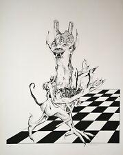 Micheline MEVEL ROUSSEL- Lithographie originale signée- L'échiquier