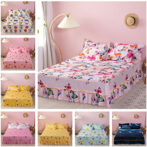Butterfly Flower Printing Bed Skirt Pillowcases Bed Sheet Bedroom Bedding New