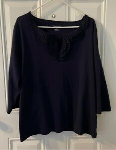 talbots 3x blouse, Navy Blue, New With Tags