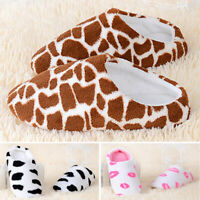 Womens Cute Cow Plush Slippers Indoor Winter Warm Soft Anti-Slip House Shoes New