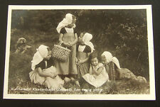 Postcard Real Photo : Dutch Children, Young Girls in National Costume :1954
