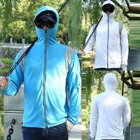 Mens Fishing Shirt Sun-protect Hoodie Sweatshirts Zipper Blouse Long Sleeve Tops
