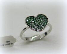 Anello pavè cuore in oro 18ct e zirconi verdi misura dito 14