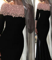 Off Shoulder Mermaid Long Sleeve Lace Formal Dresses Evening Party Gowns Prom