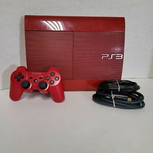 Red God Of War Sony PS3 Playstation 3 Super Slim 500GB with Controller HDMI AV