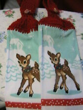 2 VINTAGE BABY DEER crochet top kitchen~bath hand towels~reindeer/holly BUTTONS