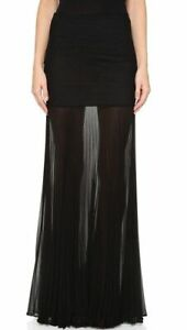 Herve Leger Savannah black pleated maxi skirt NEW SMALL