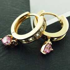 Huggie Hoop Earrings Real 18K Yellow G/F Gold Pink Diamond Simulated Fs3An886