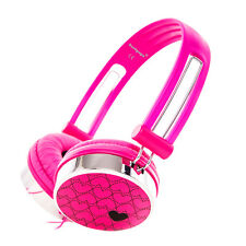 LOVE HEART PATTERN OVERHEAD KIDS GIRLS HEADPHONES IPOD IPAD MP3 / KINDLE HD PINK