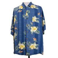 Tommy Bahama Mens XL Blue Floral Beach Camp Hawaiian Silk Cotton Blend Shirt