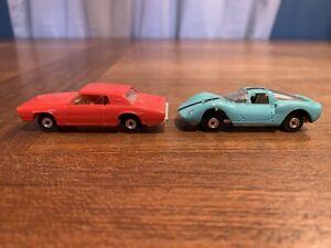 Vintage Aurora Cigar Box Thunderbird Ferrari Dino Die Cast Lot of 2 Red Blue