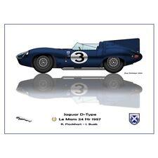 Print on paper Jaguar D-type #3 Bueb / Flockhart Winners 24h LM 1957