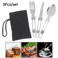 3Pcs Stainless Steel Folding Picnic Cutlery Set Fork Spoon Utensil Camp YA