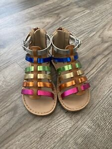 Baby Gap Toddler Girl's Metallic Rainbow Gladiator Sandal Shoes Size 6