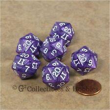NEW Set of 6 Pearlized Purple D20 Dice RPG D&D Game Twenty Sided Die Koplow
