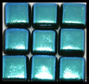 Lot of 6 LT BLUE Sq GLITTER Fused Glass DICHROIC Cabs NO HOLE Beads Flat Back