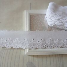 Ribbon Embroidery Scalloped Cotton Eyelet Beautiful Lace - White 14 Yards