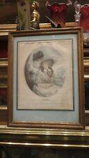ancienne gravure anglaise romantique almeida epoqu XIXe cadre bois doré portrait