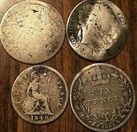 LOT OF 4 UK SILVER COINS