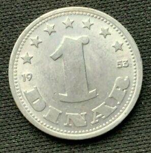 1953 Yugoslavia 1 Dinar Coin UNC     World Coin Aluminum     #K1525