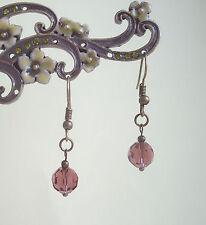 Bronze Style Vintage Violet Cristal Court Goutte de grosses boucles d'oreilles