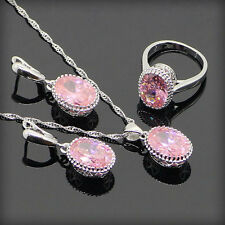 Beautiful PINK Topaz Set 925 Silver Necklace Pendant Earrings Ring Size 6 7 8 9