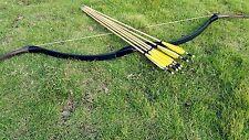Pure Black Handmade Mongolian longbow 20# -60# Achery recurve bow+6 wood arrow