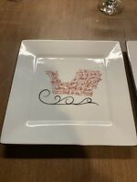 """2 St. Nicholas Square EAT DRINK & BE MERRY 8.25"""" Salad Plate Santa's Sleigh Sled"""