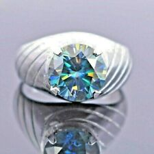 Blue Diamond Solitaire Ring- Designer Creation One of Its Kind.Great Luster!