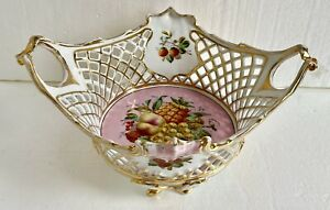 """Antique Carl Tielsch CT Germany Fruit Bowl Basket Reticulated Lattice Footed 14"""""""