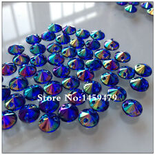 NEW! 50 pcs x Sew On  8 mm Acrylic Rhinestones Blue AB Color Round  Shape