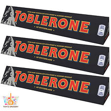 3 x TOBLERONE BLACK Swiss Dark Chocolate with Honey & Almond Nougat 100g 3.5oz