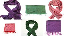 "5 WHOLESALE LOT BANARAS SILK SCARF WRAP SHAWL MADE IN INDIA 72""X20"" SET OF 5"