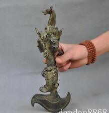 Old tibet buddhism bronze gilt Horsehead Mahakala buddha statue ax Vajra phurpa