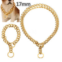 17mm Stainless Steel Gold Chain Dog Necklace Pet Collar Puppy Training Curb