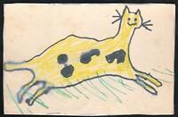 VINTAGE ORIGINAL CHILD'S DRAWING of a CAT POSTCARD - David Asbury? - UNUSED
