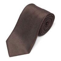 ERMENEGILDO ZEGNA Glossy Brown Blue White Diamond Tab Maze Men's Silk Neck Tie