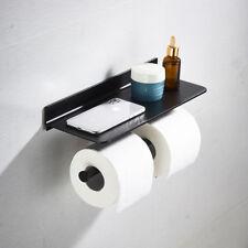 Black Double Toilet Paper Holder Modern Covered Bathroom Tissue Down Paper Shelf