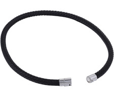 Thin Brown Black Braided Cord Rope Man Made Leather Necklace for Men