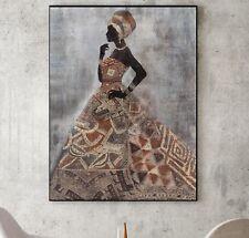 XL LEINWAND-BILD 115x85x5 AFRIKANISCHE FRAU BAROCK GEMÄLDE IKEA SHABBY CHIC NEU