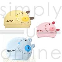 Cotton Cute Baby Infant Hat Newborn 0 - 3 Months Pink, Yellow & Blue