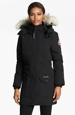 Canada Goose Trillium Women's Black Down Parka Genuine Coyote Fur Trim Size XS