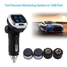 LCD Tyre Pressure Monitoring System TPMS + 4 Sensors w/ USB Port For Toyota Ford
